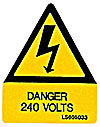 Danger 240v Label - Triangle