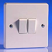 2 Gang Intermediate Light Switch - White