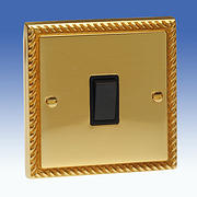 1 Gang 2 Way Light Switch - Georgian Brass