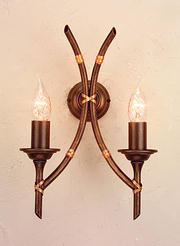 Bamboo Twin Wall Light - Bronze Patina
