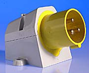 110v 16 Amp 3 Pin Appliance Inlet - Yellow