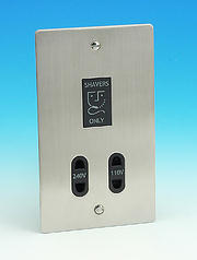 Dual Voltage Shaver Socket 115/230v - Brushed Chrome - Black Insert