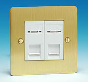 2 Gang RJ45 CAT5E Data Socket - Brushed Brass