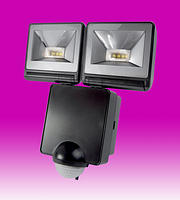 16w LED Energy Saver Floodlight c/w PIR - Black