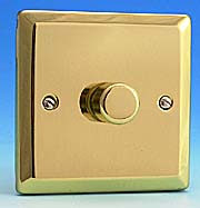 1 Gang 120w 2 Way LEDlite LED & Low Load Dimmer Switch - Edwardian Brass