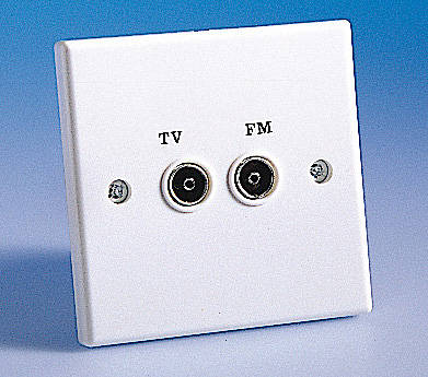 twin tv fm coaxial aerial socket white isolated. Black Bedroom Furniture Sets. Home Design Ideas