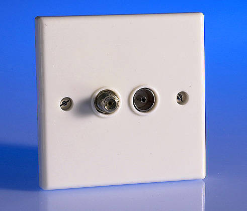 Twin Tv Coaxial Aerial Amp Satellite Socket White