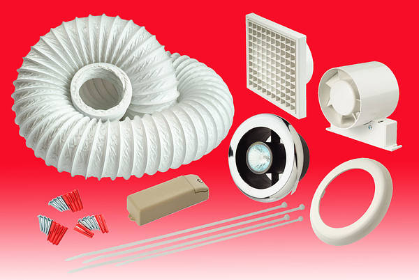 4 Inch In Line Showerlite Extractor Fan Kit With Timer