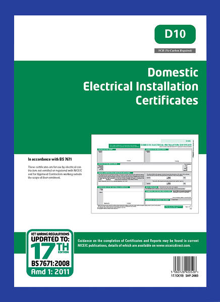 10 domestic installation certificates - niceic