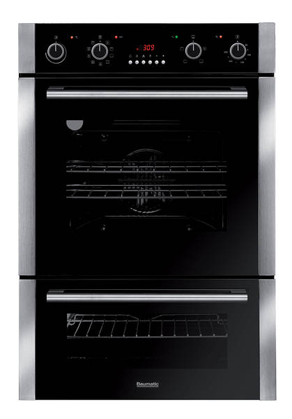 60cm Built In Pyrolytic Double Oven Black Glass