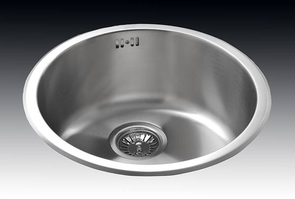 Single Round Bowl Inset Sink - Brushed Stainless Steel 0 S030SS (Rose)