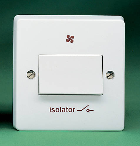 3 pole fan isolator switch with fan symbol white