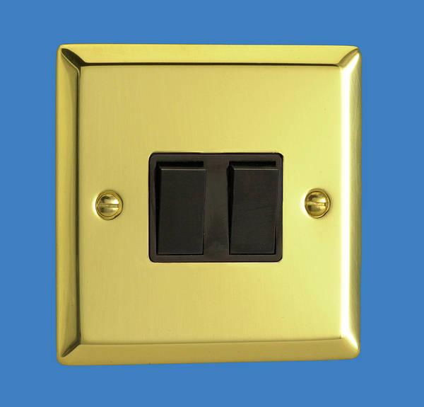 2 Gang 2 Way Light Switch Victorian Brass