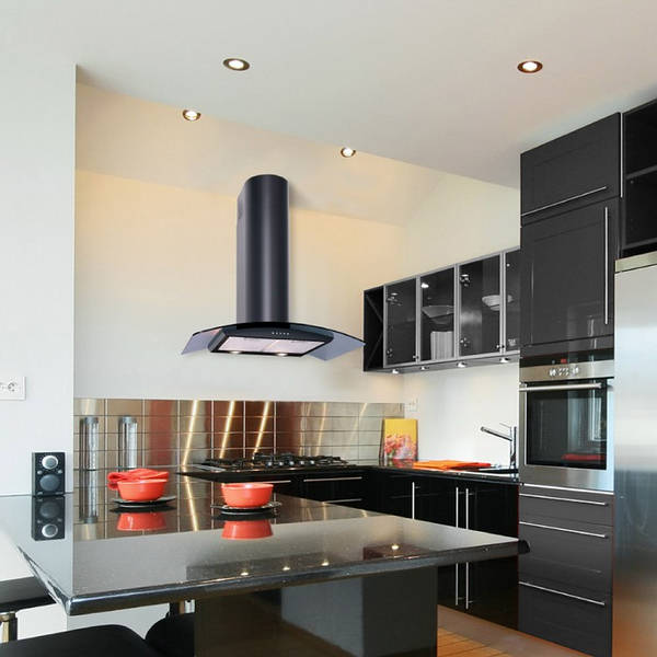 110cm Black Curved Glass Hood