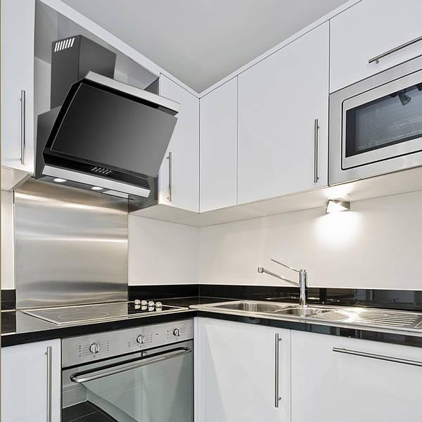 60cm ison designer angled hood black glass. Black Bedroom Furniture Sets. Home Design Ideas