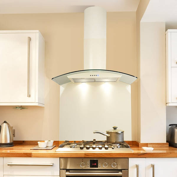 70cm Ivory Cream Curved Glass Hood With Smoked Black