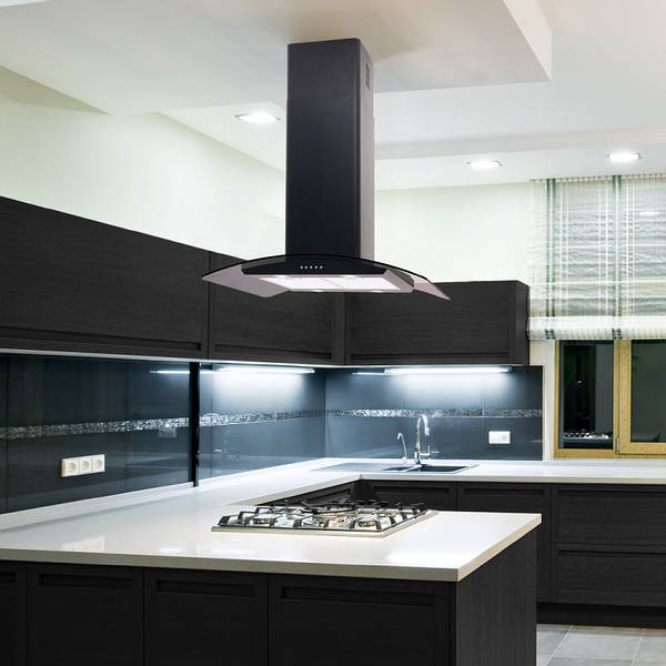 Kitchen Island Designs With Hob: 70cm Curved Glass Island Cooker Hood