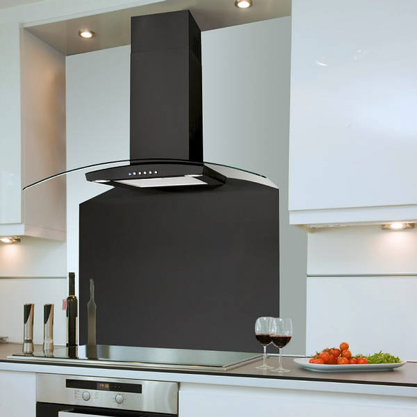 90cm Valore Curved Glass Black Hood With Clear Glass