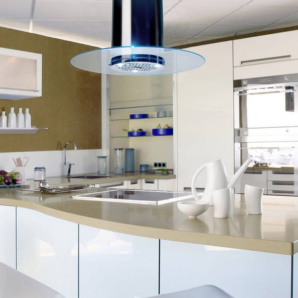 90cm Round Glass Island Cooker Hood Stainless Steel