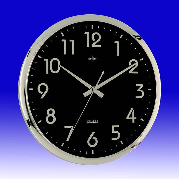 Orion Quartz Wall Clock Black Chrome
