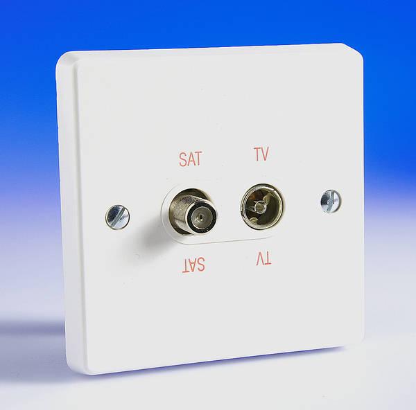 Direct Tv Satellite >> Twin TV Coaxial Aerial & Satellite Socket