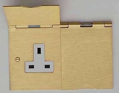 13 Amp 2 Gang Double Floor Socket Brushed Brass