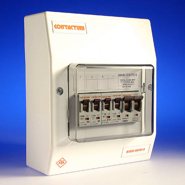 4 Way Insulated Consumer Unit 80 Amp Switch