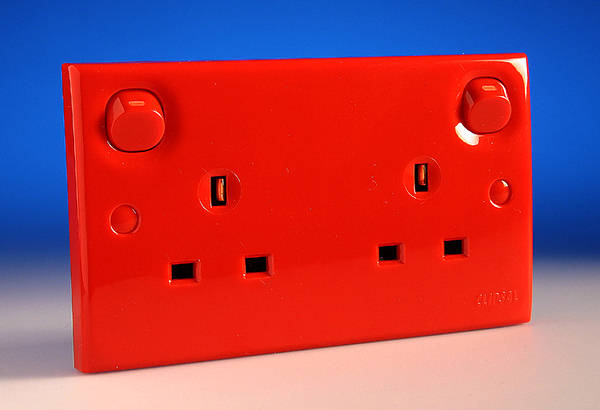 Clipsal 13a Twin Switched Socket Red