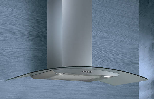 Elica Pantheon 90cm Curved Glass Cooker Hood Stainless Steel
