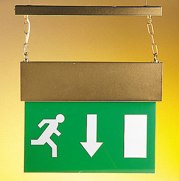 An emergency exit sign gives a clear indication of exits