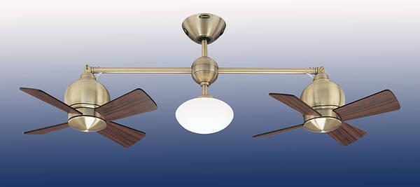 22 Quot Impeller Double Head Ceiling Fan Antique Brass