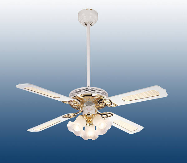44 Inch Conservatory Ceiling Fan White Polished Brass