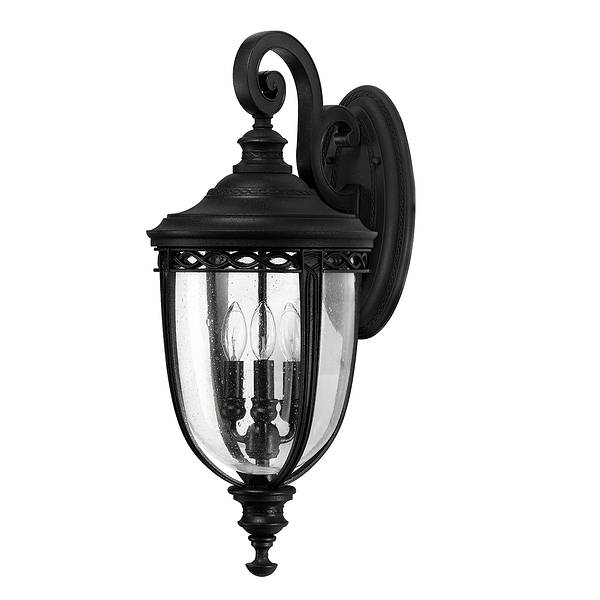 Feiss English Bridle Medium Pedestal Lantern Light Black: Elstead Lighting