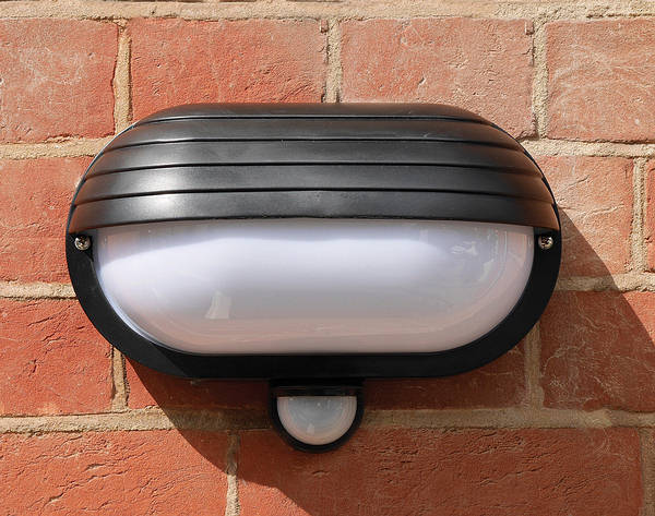 Eyelid 60w Es Weatherproof Bulkhead Light With Pir Black