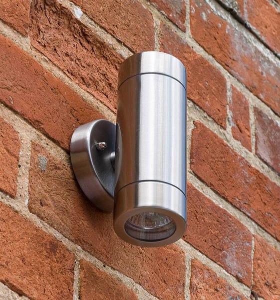Twin Fixed Wall Light Stainless Steel Ip65