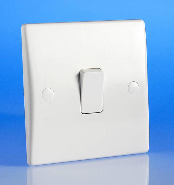 1 Gang 1 Way Light Switch White