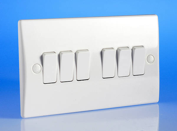 6 Gang 2 Way Light Switch