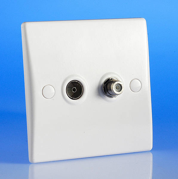 Twin Tv Coaxial Aerial  U0026 Satellite Socket