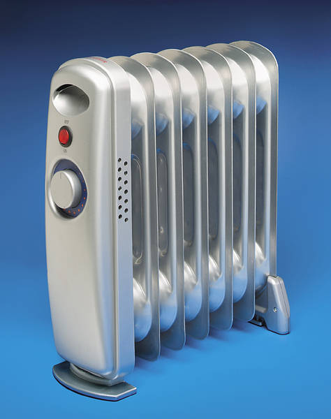700w Silver Mini Oil Filled Electric Radiator + Thermostat