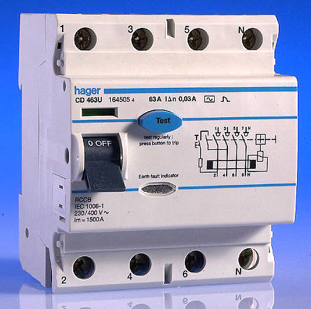 HGCD463U 63 amp 30ma rcd 4 pole hager hager rcd wiring diagram at edmiracle.co