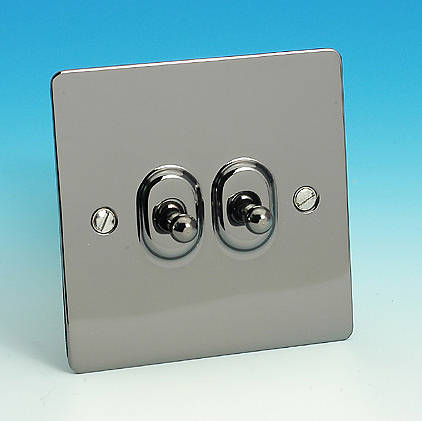 2 Gang 2 Way Toggle Light Switch Gun Metal
