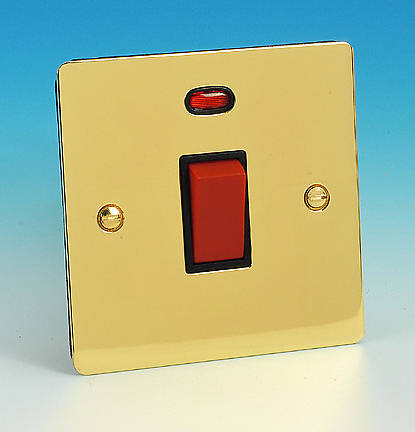 45 Amp DP Switch Sq Neon Brass Black Insert #2: KN82NBB JPG