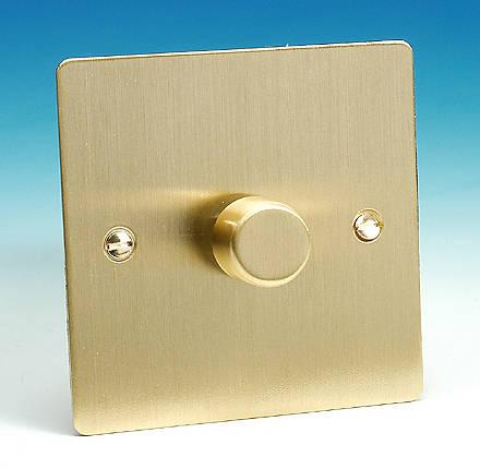 Brushed Brass Light Switches: 1 Gang 2 Way 400w iQ Dimmer Switch - Brushed Brass5055559100331CHFD12BB,Lighting