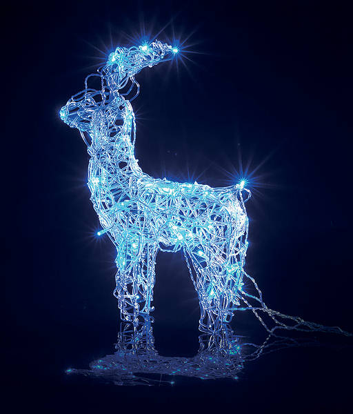 Small Christmas Led Reindeer Blue