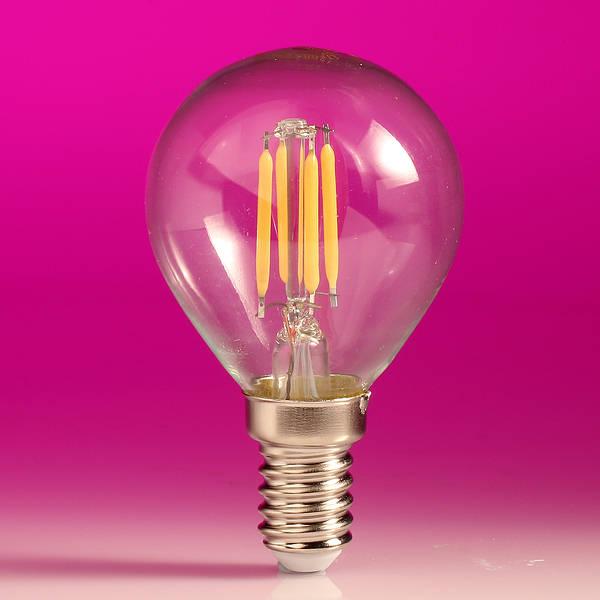 Led Filament Golfball Lamp 4w Ses E14 Clear