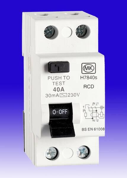 MK Sentry 40 Amp 40a 30mA RCD Double Pole 2P DP RCCB Two Module 5740s