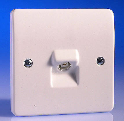 tv coaxial aerial socket white. Black Bedroom Furniture Sets. Home Design Ideas