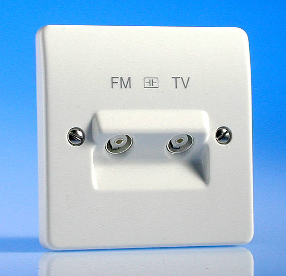 Twin Tv Fm Coaxial Aerial Socket With Diplexer Isolated