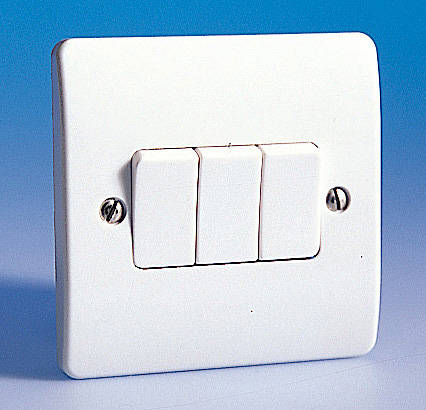 3 Gang 2 Way Light Switch White