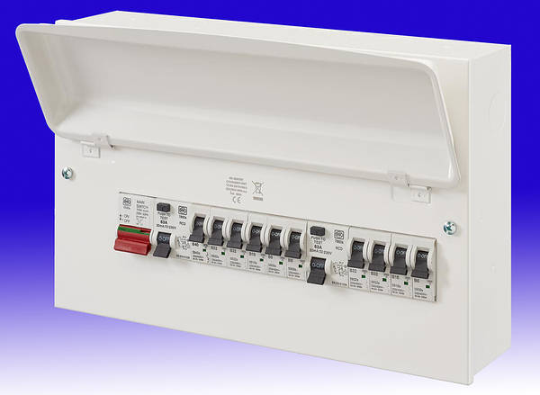 10 Way Metal Dual Split Rcd Consumer Unit 63a Rcds C  W 10